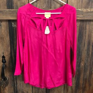 Anthropologie Maeve Bright Pink Cutout Blouse